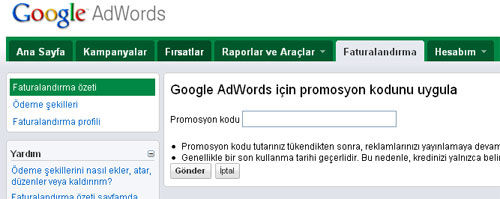 google adwords promosyon Adwords kupon kullanımı