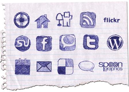 sosyal paylasim iconlari Karakalem sosyal paylaşım simgeleri
